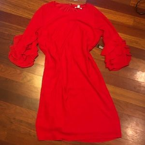 New York and Co ruffle bell sleeve dress